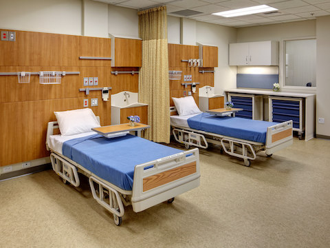 Life-like patient rooms for students, comprised of Compass modular systems.