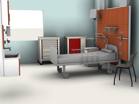 A computer image of a proposed patient room setup.