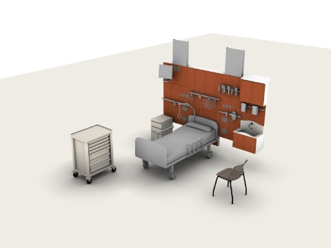 A 3-D computer image showing the planning of a patient room.