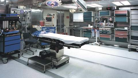 A mobile surgery unit outfitted with Co/Struc modular storage lockers.