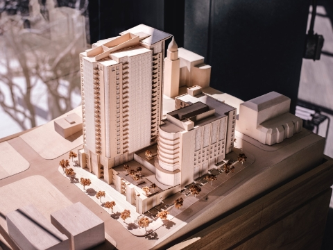 An architectural model of a proposed building design.