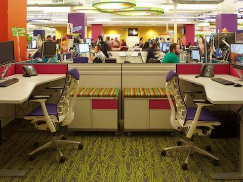 Quicken Loan staff work amongst Everywhere tables and Embody chairs.
