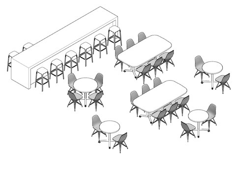 A line drawing of the break room showing the chairs, tables, and long bar next to options for dowloading plans of the space.