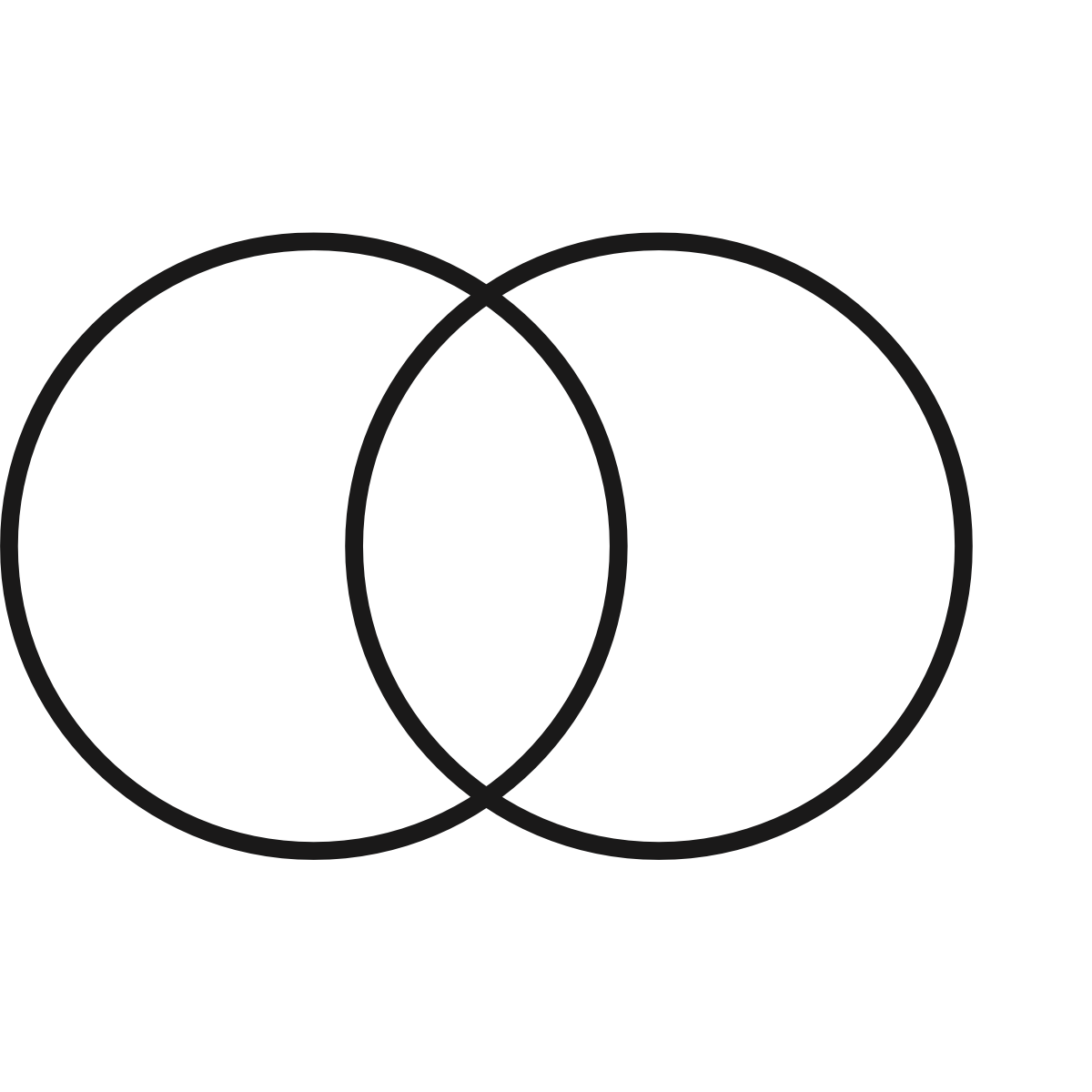 A black line drawing of two black concentric circles that represent an integrated design process.