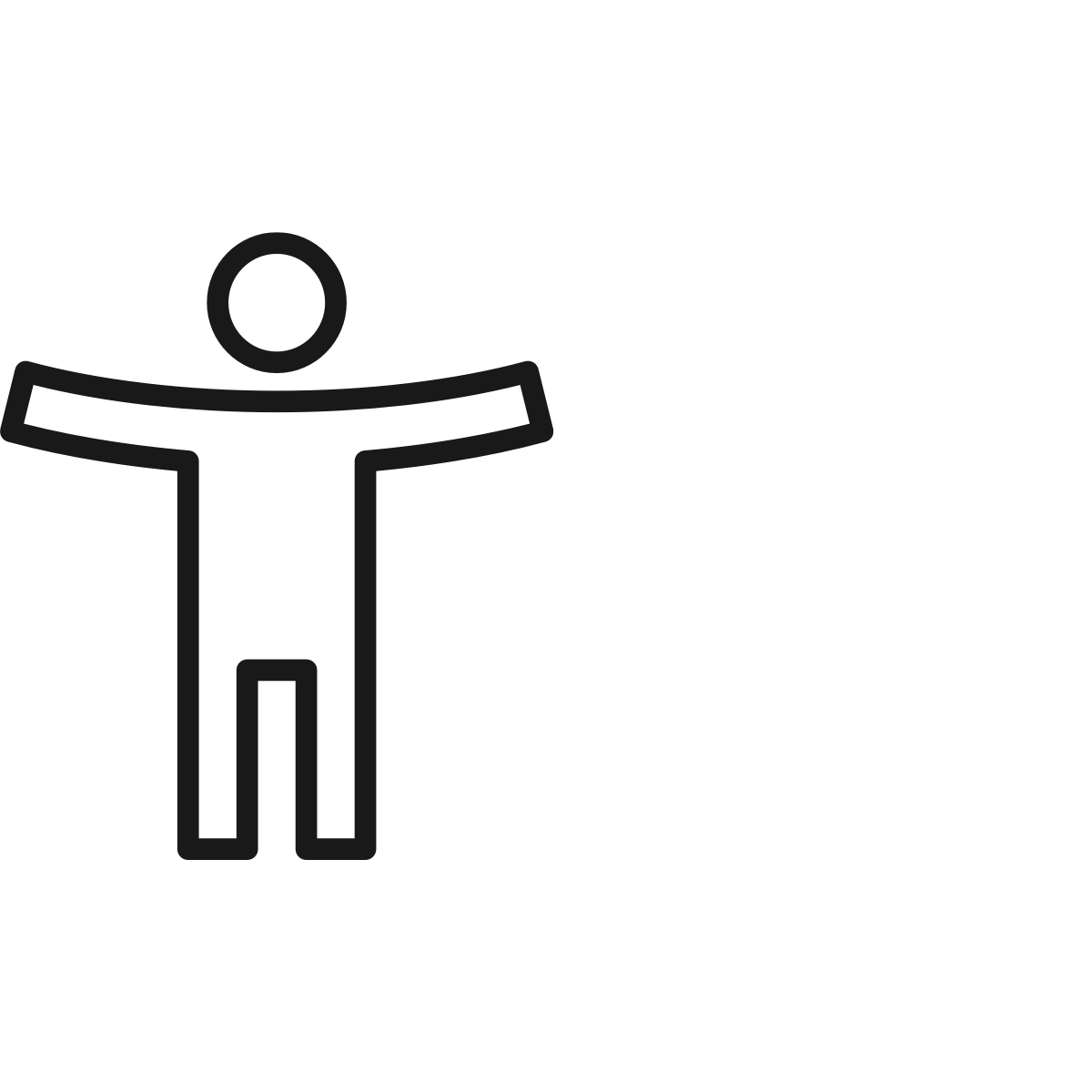 A black line drawing of a person with arms outstretched to represent the importance of human-centered design.