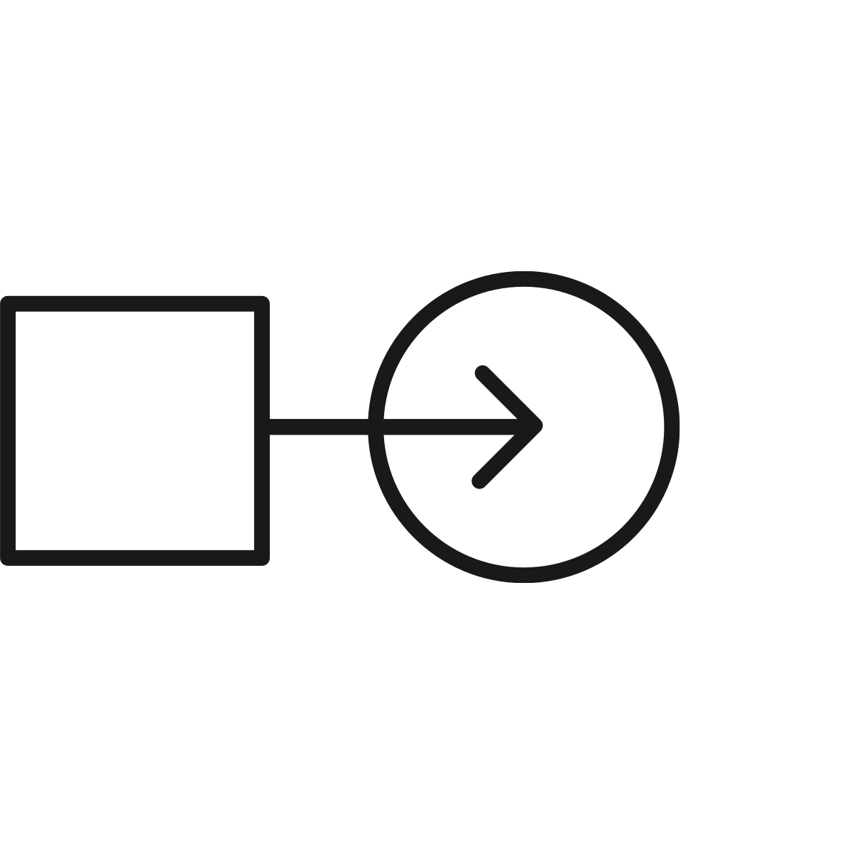 A black line drawing of a square attached to an arrow pointing to circle to represent navigating change.