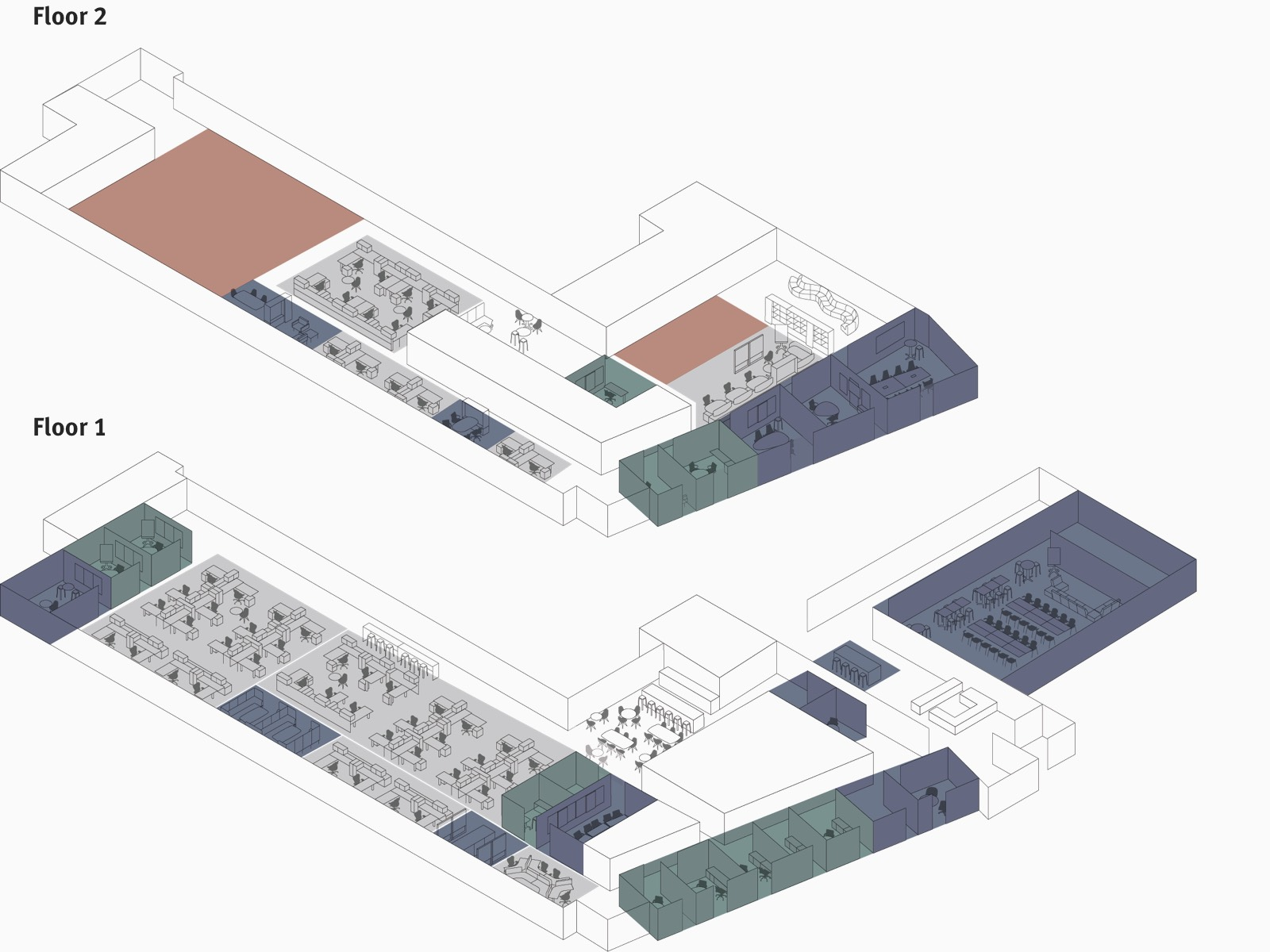 An illustrated floorplan of TDC's first and second floors with multi-colored boxes to represent the variety of settings.