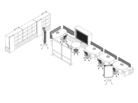 A line drawing of the open workspace that includes desks, chairs, bookshelves, and partitions, next to options for downloading plans.