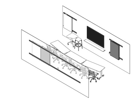 A line drawing of the training room showing the tables, chairs, monitors and tackboards next to options for downloading plans of the spaces.