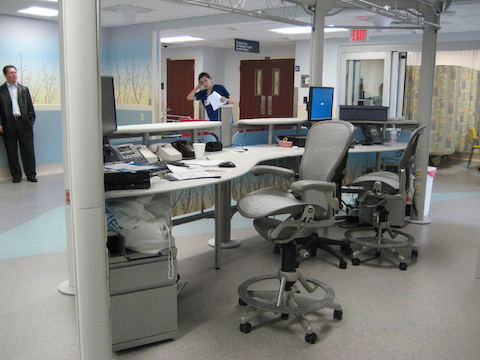 Two Aeron chairs sit behind a desk inside the Washington Hospital Center.
