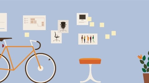 An illustration that includes a stool and bicycle. Select to go to a white paper about the alignment between people and place.