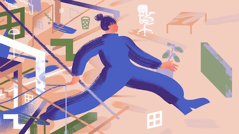 An abstract illustration conveys a person in blue moving through a chaotic office, with both furniture and shapes and lines surrounding them.