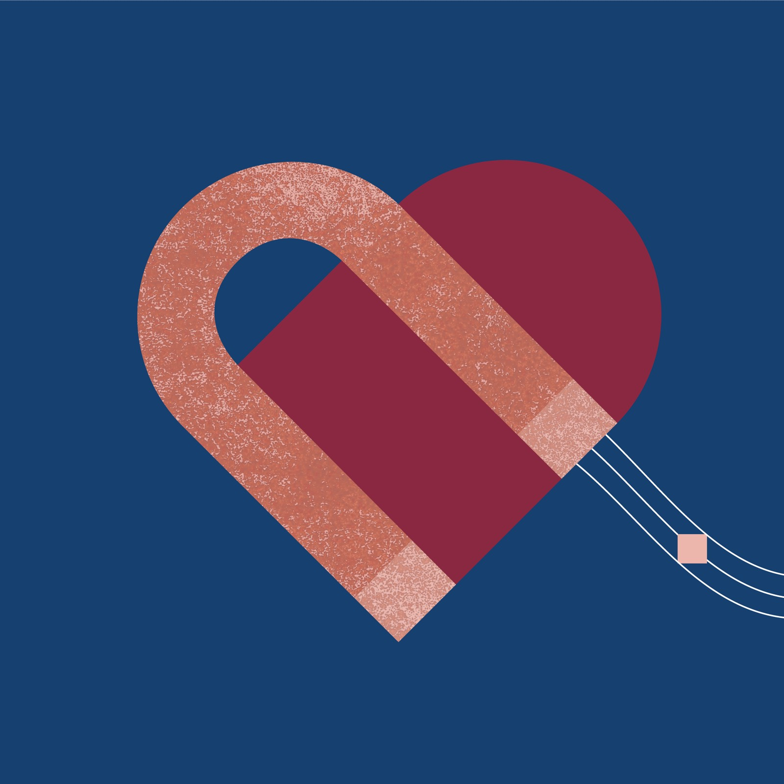 Abstract illustration of heart and magnet that signifies community in the workplace.