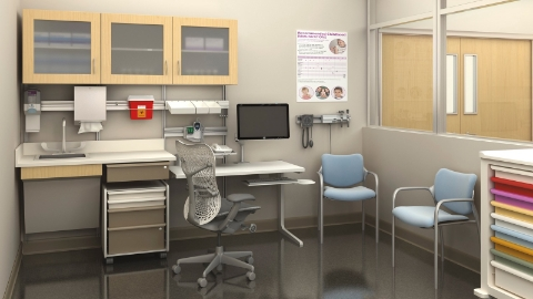 A diagnosis and triage area comprised of Casework and Co/Struc systems, along with Aside chairs.