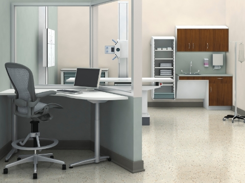 An empty radiology room featuring Co/Struc storage and an Aeron chair.