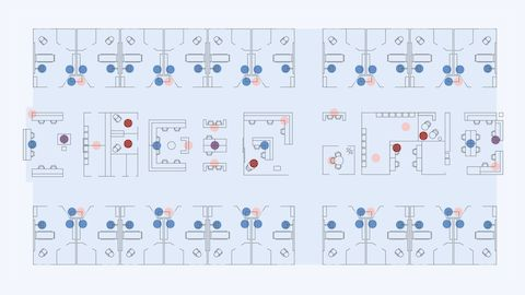 An illustrated plan view of a hospital patient room floor with colored dots highlighting different locations.