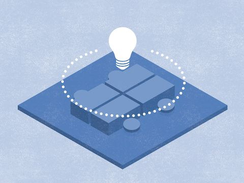 An abstract illustration of a lightbulb floating above a care team work environment, representing conversational transparency.