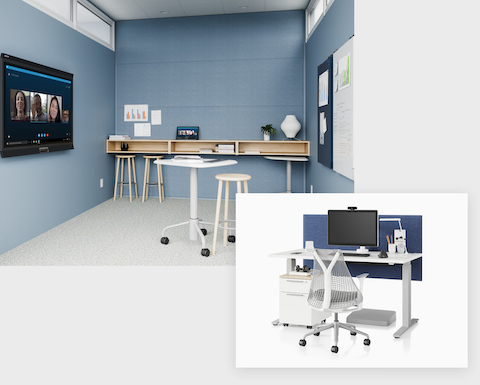 A large image shows a light blue haven space with a small table and stools, featuring the technology from Logitech. In an adjacent smaller image, you see a height-adjustable desk in white with a Sayl Chair in white and grey. Canvas Storage sits under the desk, and a panel behind the desk provides privacy.