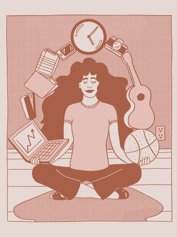 An pink illustration of a person with long hair sitting in a yoga position and juggling objects from work and life, including a laptop, a clock, a basketball, and a guitar.