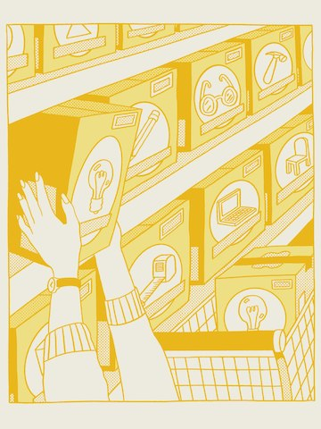 A yellow illustration of a person taking boxes of light bulbs off a shelf and putting them in a shopping cart.