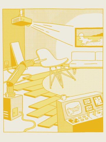 A yellow illustration of a control station, a robot arm picking up an Eames Shell Chair, and a projector displaying an image of a sunset on the wall.