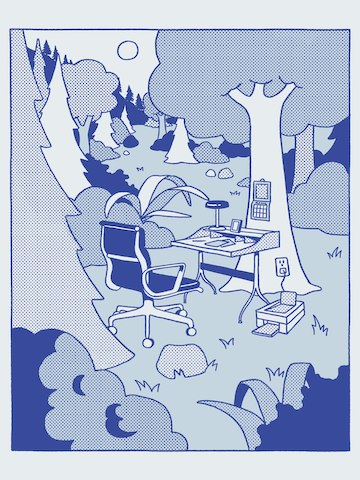 A blue illustration of an Eames Aluminum Group Chair with a Nelson swag leg desk in a forest.