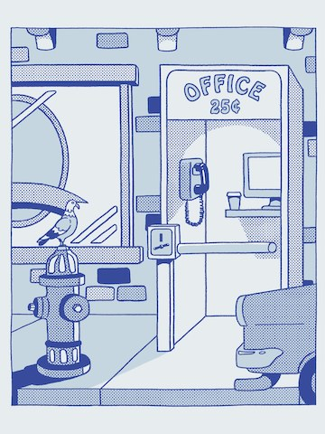 A blue illustration of a phone booth with the words office and twenty-five cents written on it. A pidgeon sits on a hydrant in the foreground.