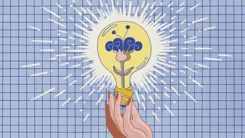 An illustration of a hand holding a yellow lightbulb with pink and purple flower growing on the inside