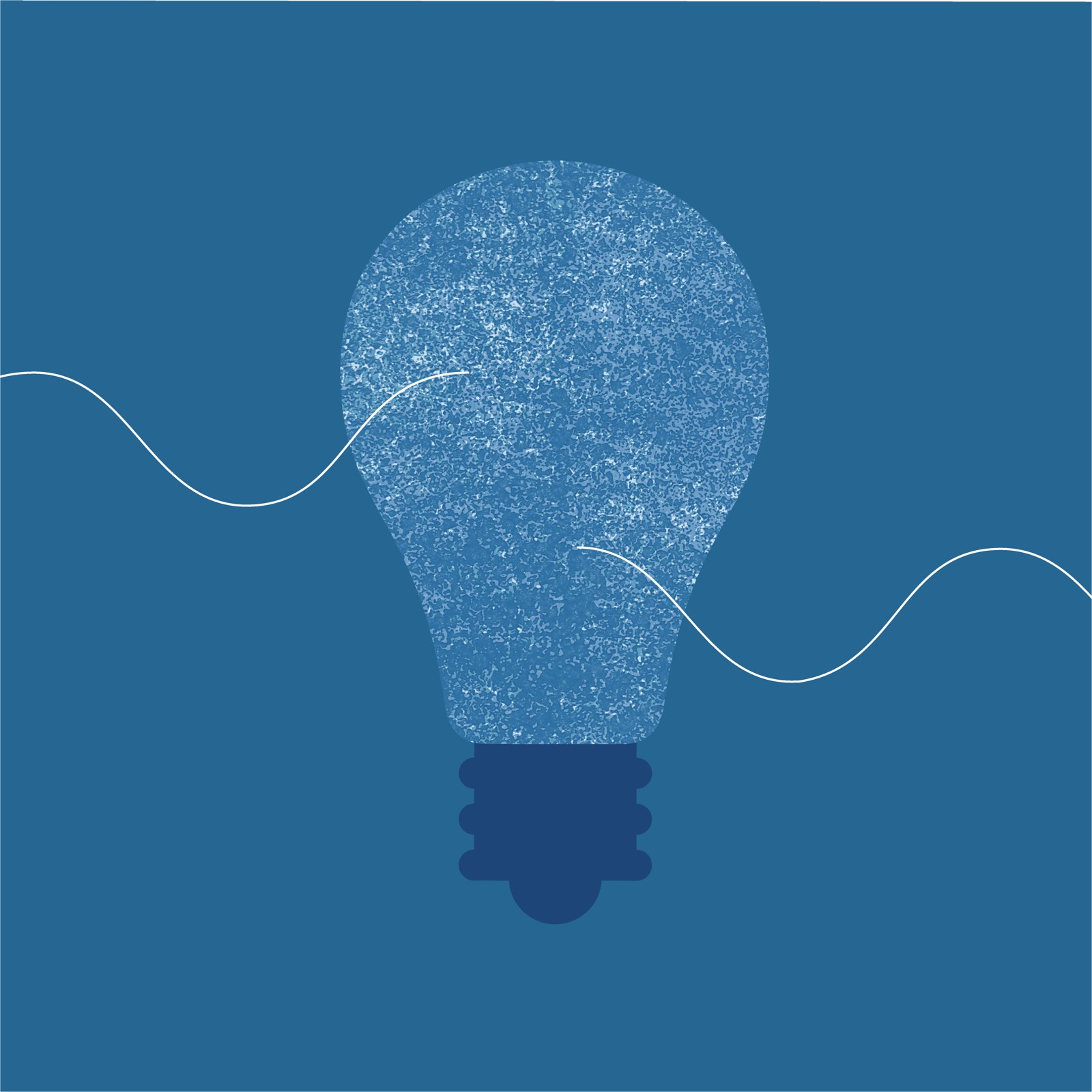 Abstract illustration of light bulb that signifies innovation in the workplace.