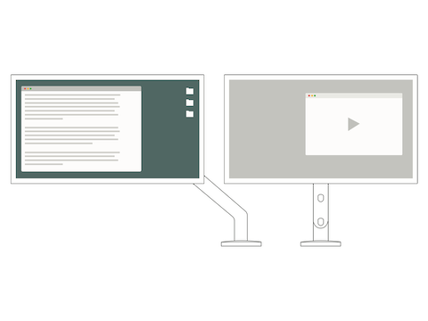 A front-view illustration of side-by-side monitors demonstrates how you should designate one monitor as primary and use the second for reference.