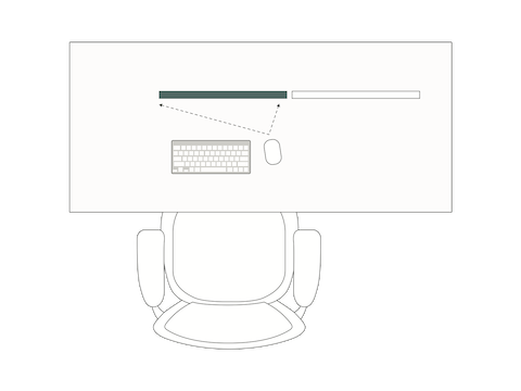 A top-view illustration of a desk, chair, keyboard, mouse and monitors demonstrates how you should orient your mouse towards the main screen.