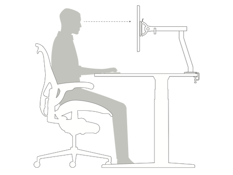 A side-view illustration of a person sitting in an office chair at a height-adjustable desk demonstrates how you should rest your forearms on the desk at a 90-degree angle.