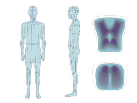 A 3D model showing different flex areas on a human body and chair.