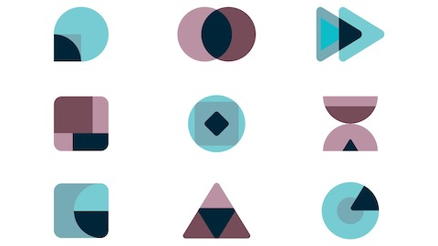 Several different geometric shapes in blue, black, and red.
