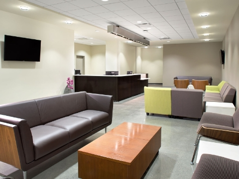 A waiting area features an array of lounge seating styles.