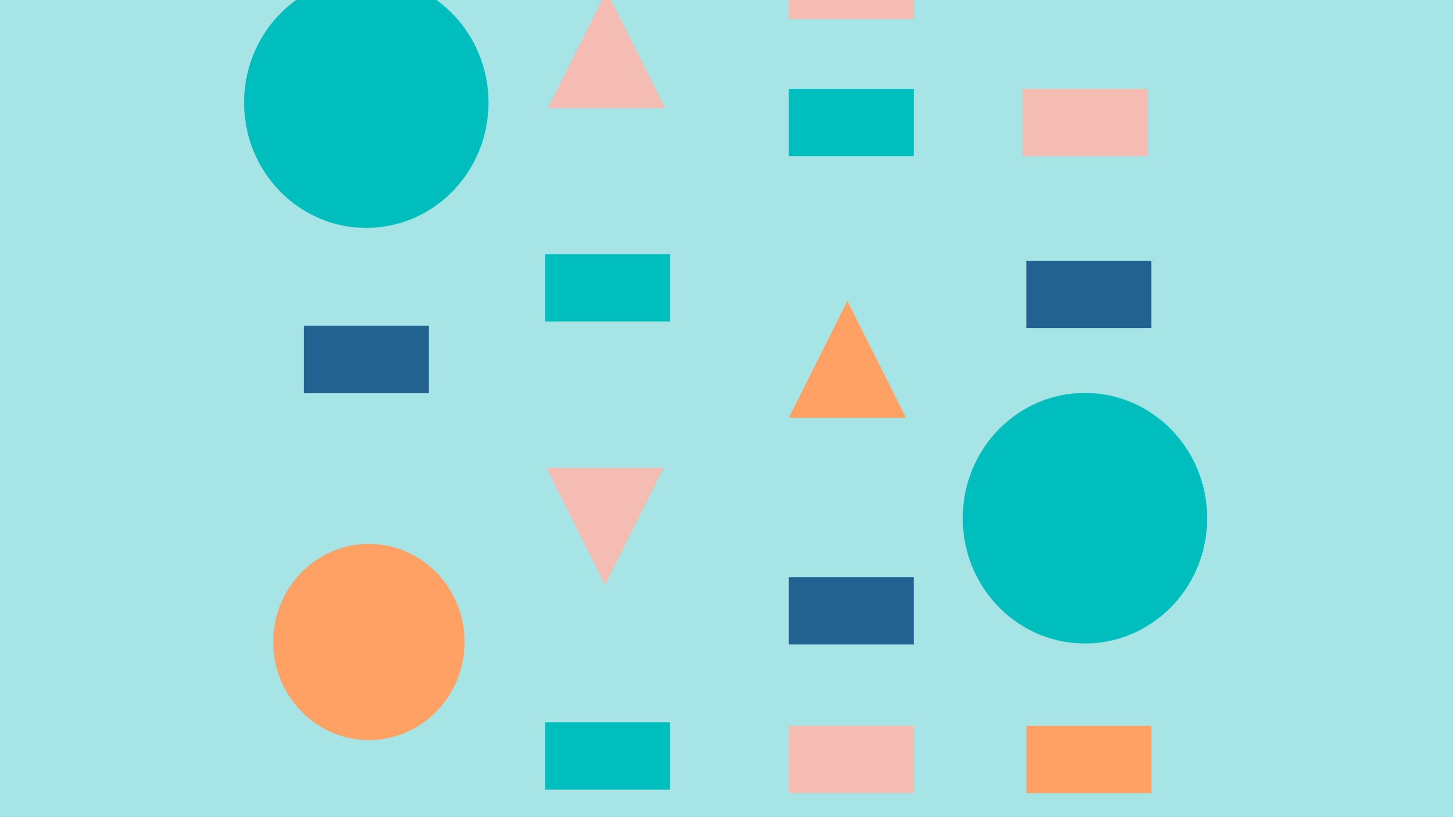Various shapes in different colors on a light blue background.