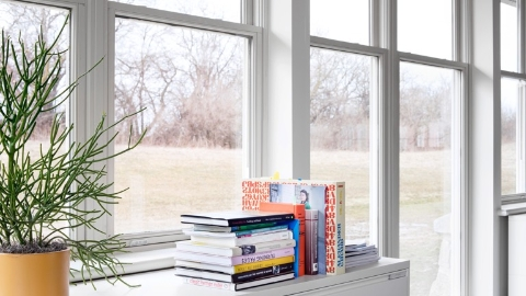 Books stacked atop a file cabinet near a wall of windows. Select to go to Herman Miller's white paper on nature-based design.