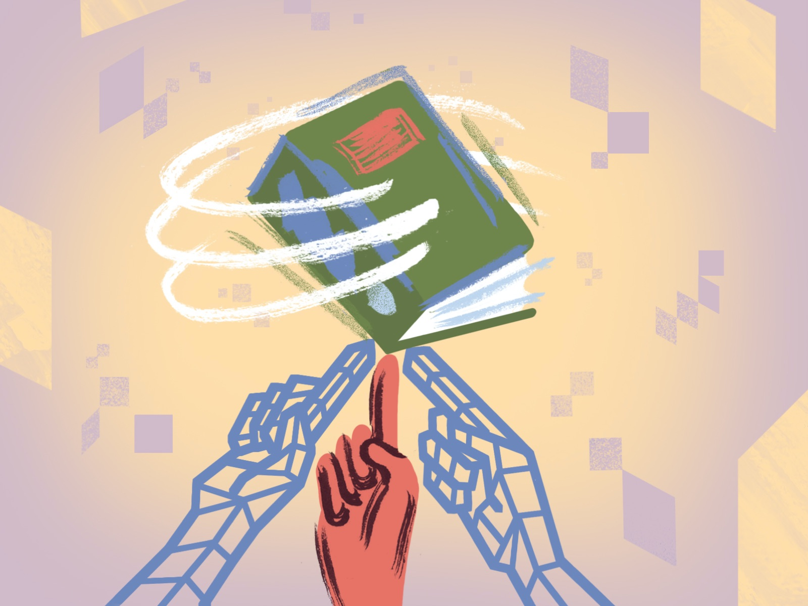 An abstract illustration of three fingers balancing a green book.