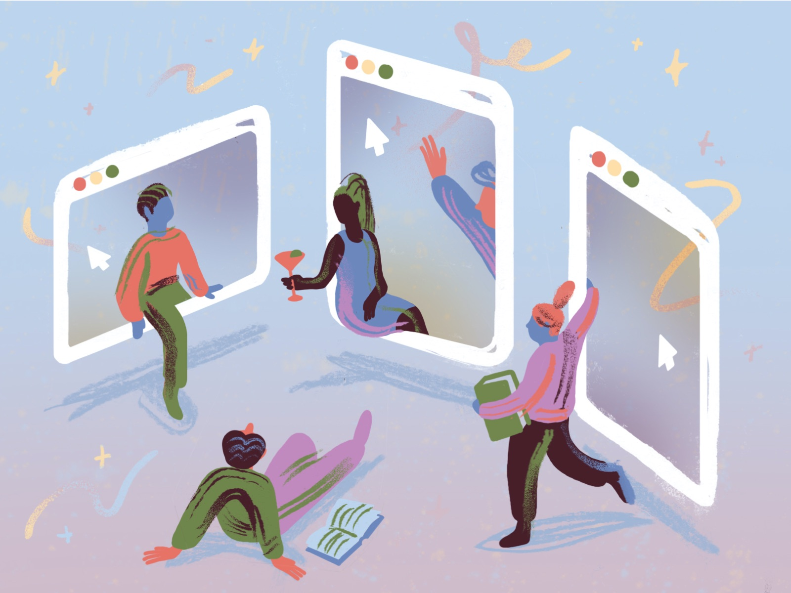 An abstract illustration of four people socializing and hanging out in the frames of their digital devices.