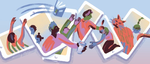 An abstract illustration of eight people and a cat connecting through various digital devices.