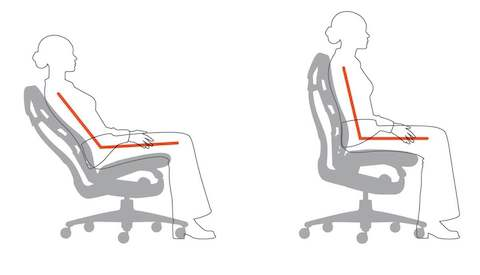 A graphic showing how the Embody Chair keeps the thighs horizontal, with continuous thoracic region support.