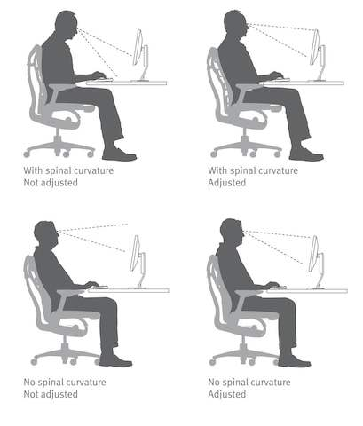 Examples showing how the Embody Chair's Backfit adjustment ensures a neutral, balanced posture.