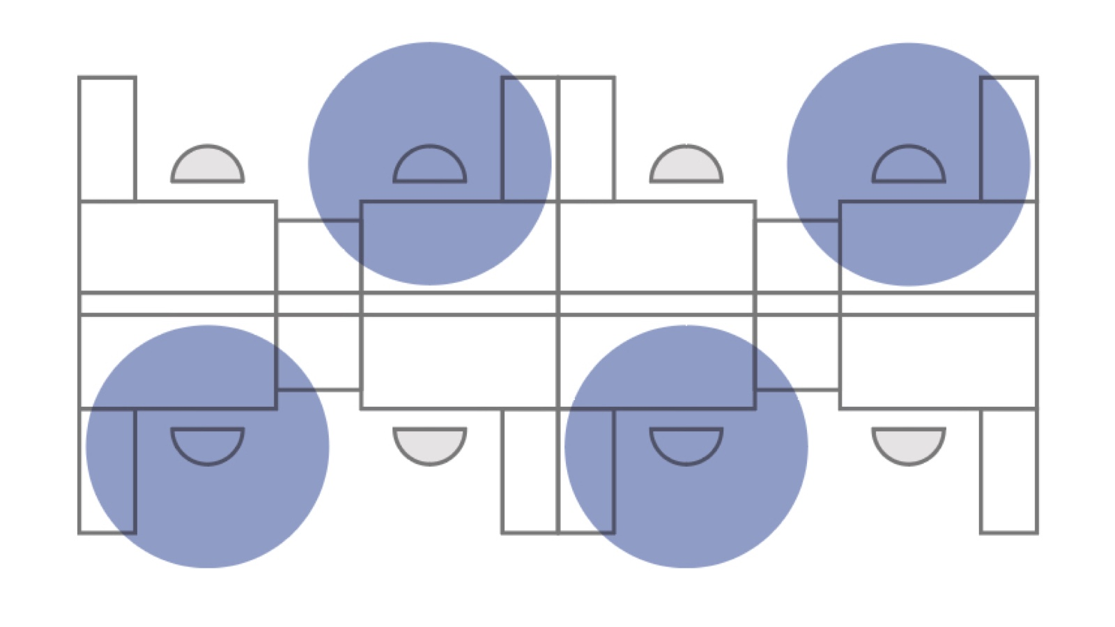 An illustrated diagram of a floorplan with squares and overlapping circles.