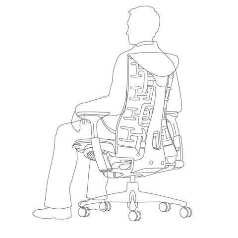 A graphic showing how the Embody chair's surface contours to each unique body shape while fully supporting the arms.