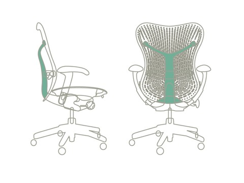 An image showing how the Mirra chair allows for flexibility on the back support.