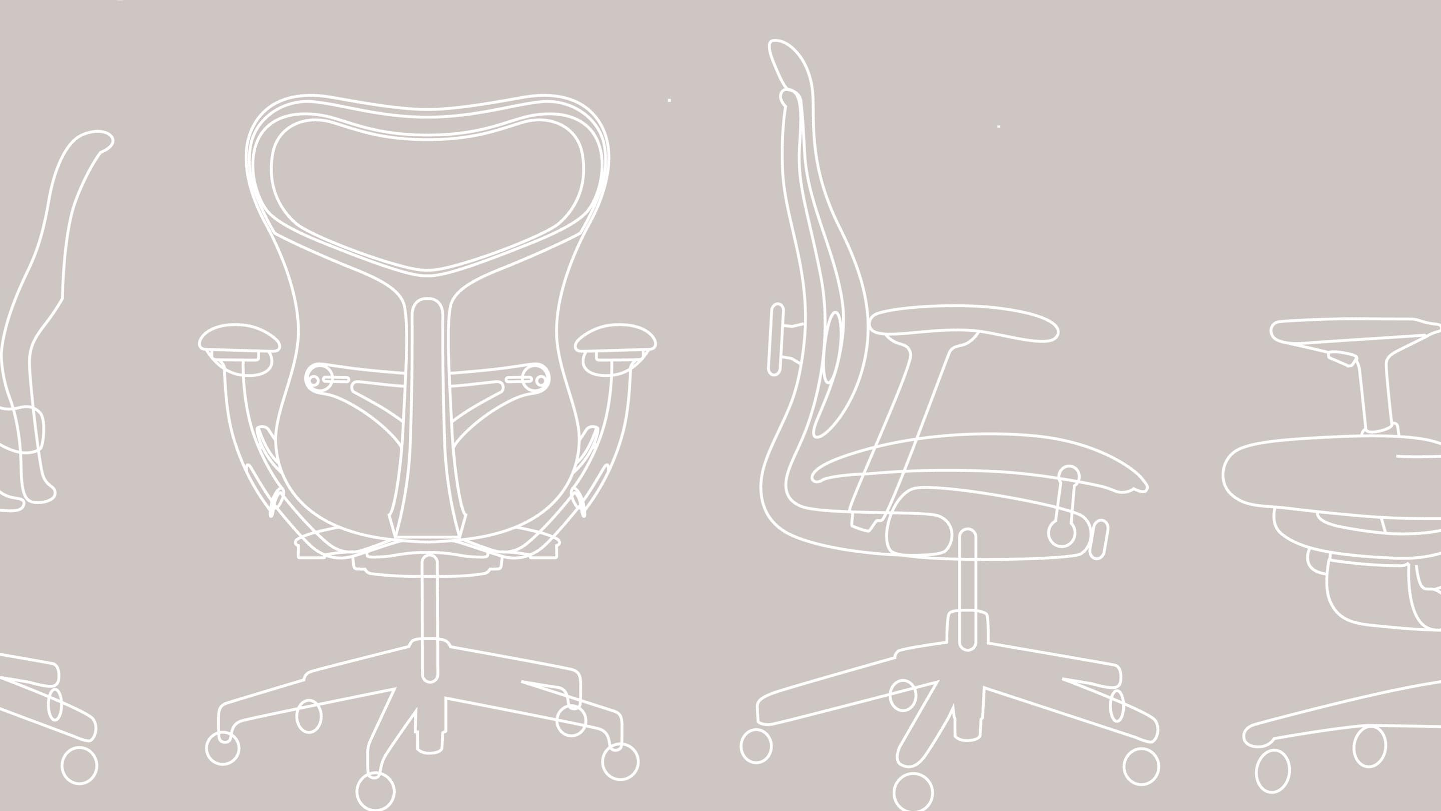 A graphic rendering of an Aeron chair from various angles.