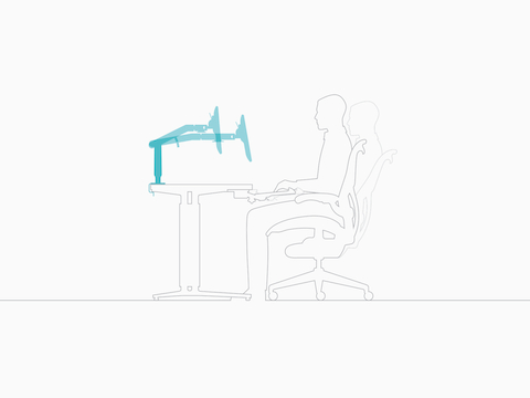 Illustration of a man in profile, showing an adjustable monitor arm in two positions to accommodate two seated postures.