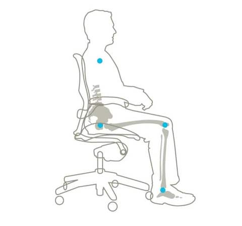 A diagram showing how the Aeron Chair creates a pocket to hold the pelvis at a slight forward tilt.