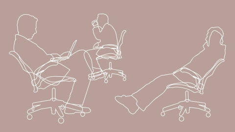 An illustration of three common sitting positons supported by the Aeron Chair.