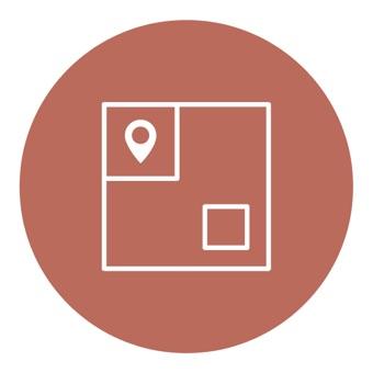 Un pequeño círculo marrón con un icono blanco en el centro sirve de representación abstracta para definir espacio y comunicar exclusividad, dos de nuestras cuatro consideraciones esenciales en cuanto al diseño en una oficina abierta.